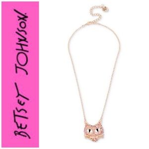 Betsey Johnson Pave Crystal Cat Pendant Necklace